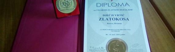 """Dečiji vrtić """"Zlatokosa"""" iz Borova nagrađen velikom zlatnom medaljom"""