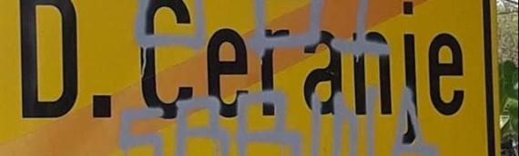 Uvredljivi grafiti na ulazu u rodno mesto Milorada Pupovca