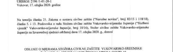 Štab civilne zaštite Vukovarsko-sremske županije doneo odluku o merama za sprečavanje širenja virusa COVID-19