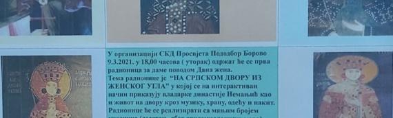 """Radionica u borovskoj """"Prosvjeti"""" povodom Dana žena: """"Na srpskom dvoru iz ženskog ugla"""""""