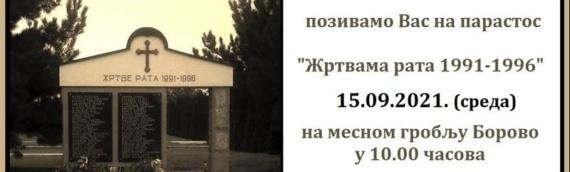 U sredu, 15. septembra u Borovu parastos žrtvama rata